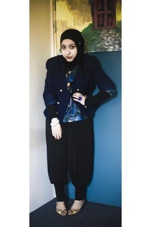 vintage blazer - vintage blouse - wearhoues pants - Primark shoes