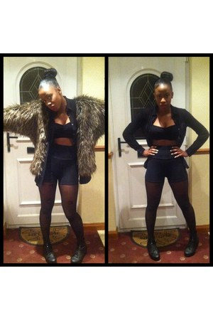 fur Topshop cardigan - leather Office boots - numbered tights Primark tights