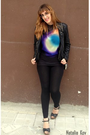 leather Zara jacket - H&M leggings - Zara shirt