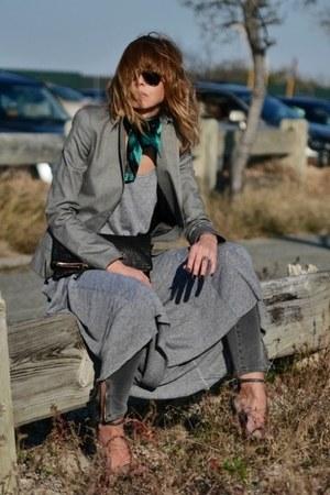 charcoal gray nation dress - silver vintage blazer - black Clare Vivier purse