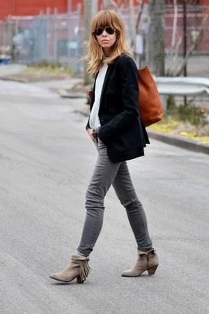 navy madewell blazer - tan sam edelman boots - gray J Brand jeans