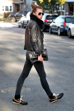 black Muubaa jacket - gray James Jeans jeans - black madewell bag