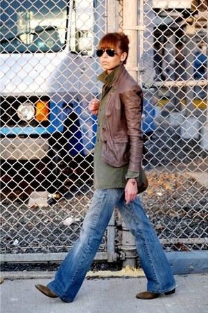 light brown Muubaa jacket - blue Zara jeans