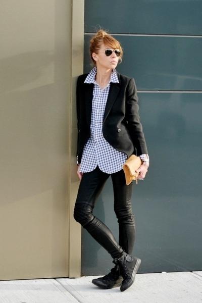 black Hudson jeans - black madewell blazer - light blue madewell shirt