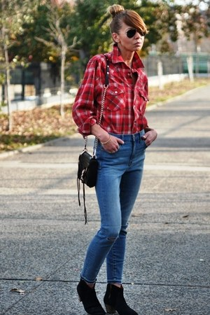 blue high waisted madewell jeans - black dicker Isabel Marant boots
