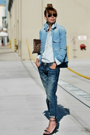 sky blue denim Zara jacket - blue denim boyfriend Current Elliott jeans