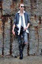 charcoal gray vintage blazer - black Zara jeans - white madewell shirt