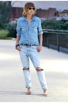 light blue denim Zara jeans - light blue denim H&M shirt