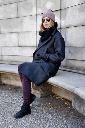 dark gray Isabel Marant coat - crimson James Jeans jeans