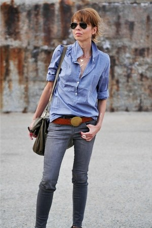 periwinkle oversized shirt JCrew shirt - gray skinny jeans J Brand jeans