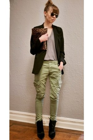 black madewell blazer - tawny Clare Vivier bag - army green Ralph Lauren pants