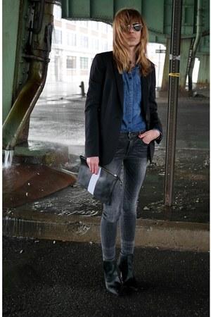 black Zara jeans - black madewell blazer - blue madewell shirt
