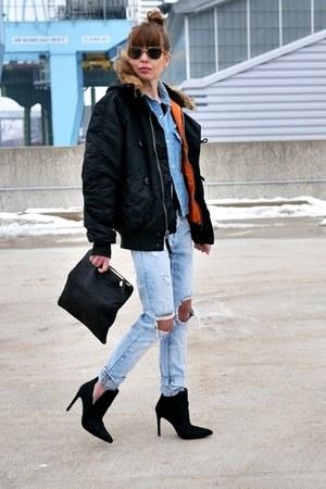 black Alpha jacket - blue Zara jeans - black Clare Vivier bag - black Zara heels
