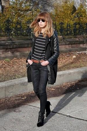 black Zara coat - black R13 jeans - black nation ltd top - black Zara heels