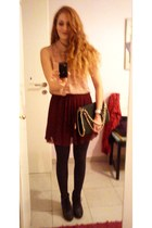 brick red Pull & Bear skirt - gray BLANCO boots - peach H&M shirt