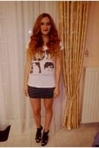 ivory Zara t-shirt - navy Zara skirt - black Zara heels