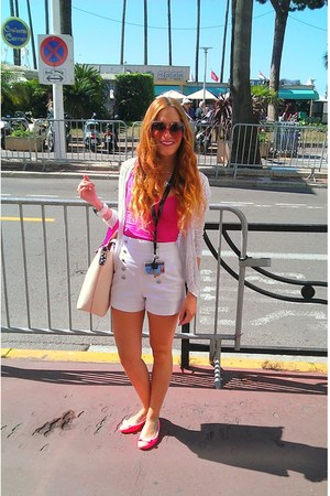 white Zara jacket - hot pink Topshop bag - off white Zara shorts