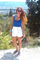 white Zara shorts - ruby red Tom Ford sunglasses - blue Zara top