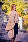 Beige-mink-fur-vintage-cape-black-chiffon-beaded-topshop-dress
