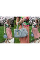 salmon H&M skirt - light blue leather Marc by Marc Jacobs purse