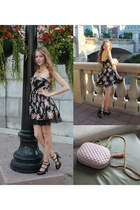 black dress - light pink bag - deep purple heels