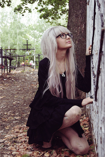 black nerd shades  glasses - black hottopic dress - cream xxi forever tights