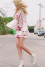 Pink-zara-blazer-white-primark-dress-beige-blanco-shoes