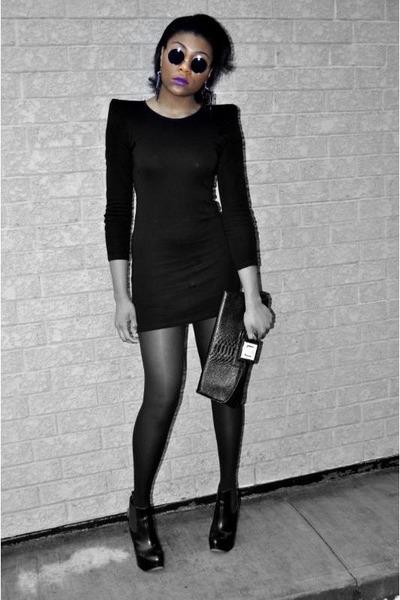 black Oasis dress - black flea market in Toronto sunglasses - black Dorothy Perk