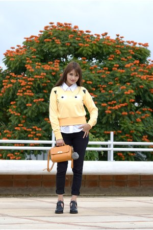 light yellow Hada de Sol sweater - black Forever 21 jeans - white Mango blouse