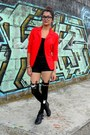 Red-hada-de-sol-blazer-black-forever-21-shorts-black-forever-21-top