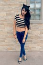 Navy-skinny-forever-21-jeans-black-cat-ears-diy-hair-accessory