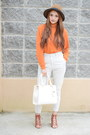 Carrot-orange-shirt-off-white-forever-21-bag-brown-forever-21-heels