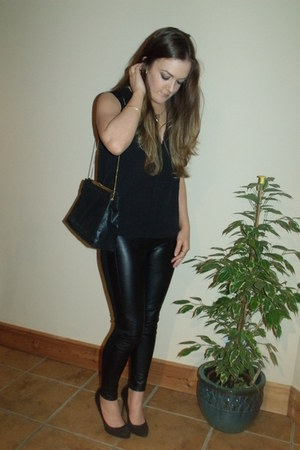 black pleather H&M blazer - black Zara bag - black pleather Zara pants