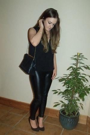 black pleather H&M blazer - black Zara bag - black pleather Zara pants