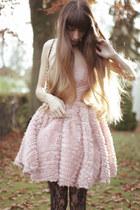light pink opulence dress - black Wolford tights