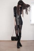 black asos tights - black Ana Alcazar dress - black Chanel bag