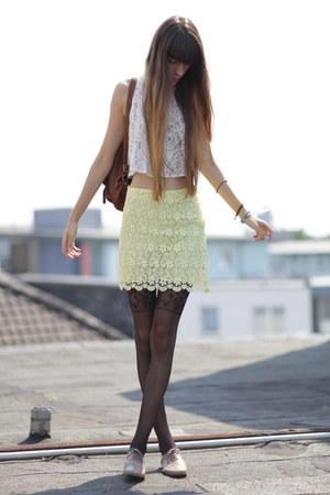 black asos tights - brown vintage bag - light yellow Zara skirt