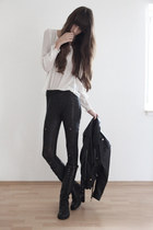 black leather vintage jacket - black H&M leggings - off white mark adam blouse