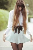 turquoise blue Zara shorts - white vintage blouse
