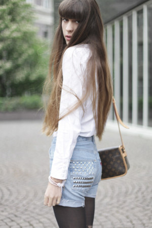 self studded Levis shorts - asos tights - seidensticker blouse