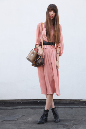 black Buffalo boots - coral H&M blouse - black vintage belt - coral H&M skirt