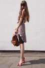 Pink-silk-carlos-miele-dress-bronze-leather-vintage-bag-ruby-red-mango-heels