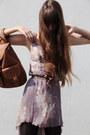 Pink-silk-carlos-miele-dress-bronze-leather-vintage-bag-ruby-red-mango-heels