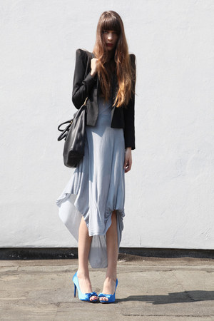 blue Zara heels - light blue Haider Ackermann dress - black Zara blazer