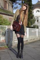 olive green Mango blazer - black Jimmy Choo dress - dark brown vintage bag