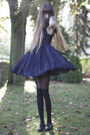 Black-jonathan-aston-tights-navy-ted-baker-dress-black-louis-vuitton-bag