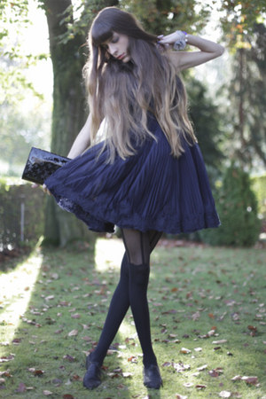 black Jonathan Aston tights - navy ted baker dress - black Louis Vuitton bag