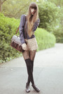 Dark-brown-vintage-bag-peach-zara-shorts-navy-joy-blouse