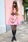 Pink-cos-dress-black-wolford-tights-teal-anna-sui-wallet