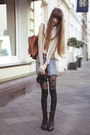 Black-falke-tights-sky-blue-mango-shorts-off-white-urban-outfitters-blouse